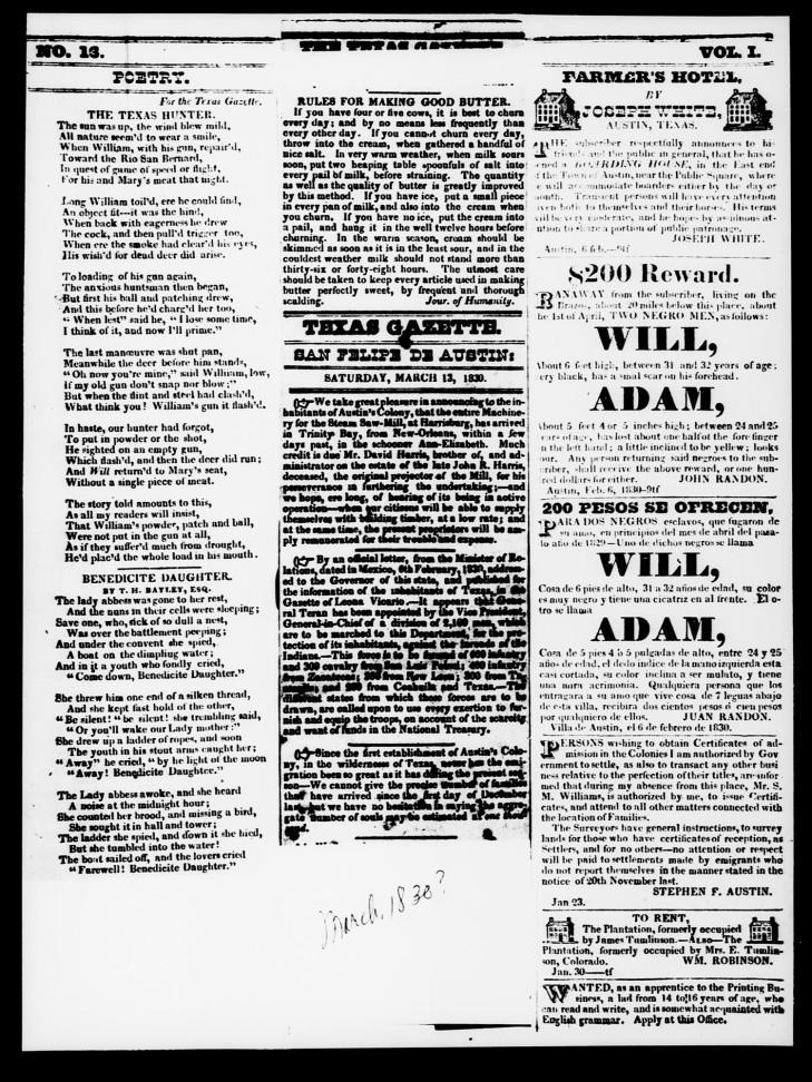 Texas Gazette. Saturday, March 13, 1830.